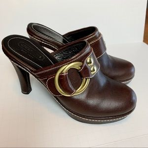 COACH Brown Leather Mules